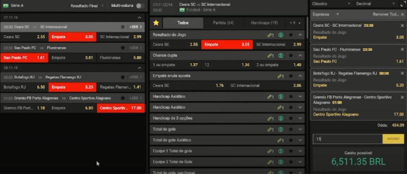 tabela com resultados e dados de apostas gerada pelo site