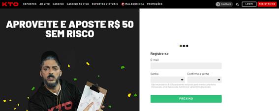 imagem da página de registro dentro do site da kto
