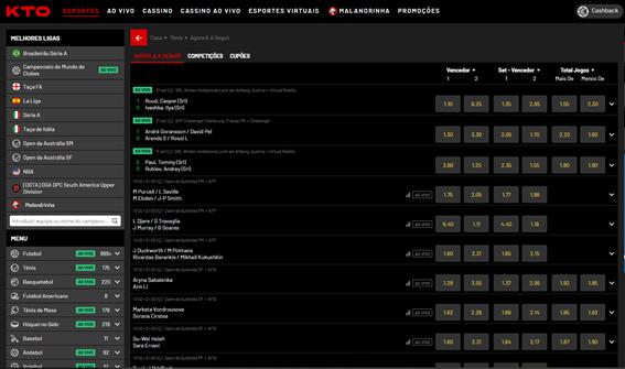 página com todas as modalidades de apostas dentro do site da KTO