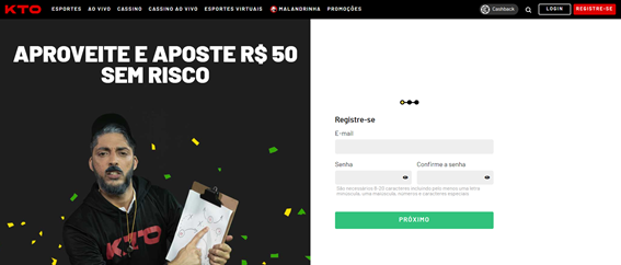 página para registro dentro do blog da kto