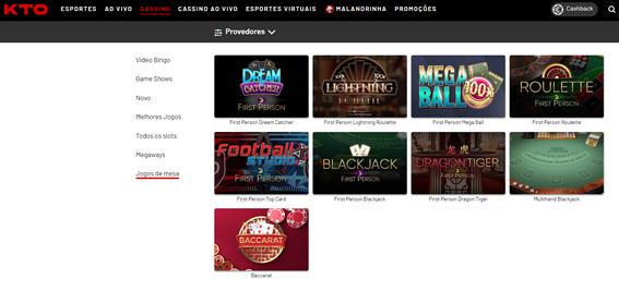 imagem com opções de jogos de cassino online da kto