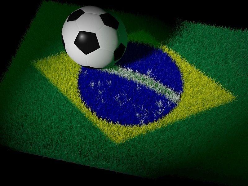 bandeira do brasil com uma bola de futebol em cima